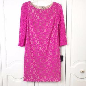 Nine West Lace Pink Shift Dress 3/4 sleeve sz 8